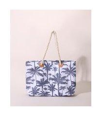 bolsa de praia feminina grande estampada de coqueiros alça de corda azul marinho