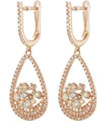 'bird' diamond cluster teardrop earrings