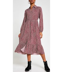 river island womens red long sleeve spot print midi shirt dress