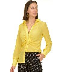 blusa pliegues italiana amarilla bous