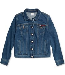 tommy hilfiger adaptive women's denim trucker jacket with magnetic closures