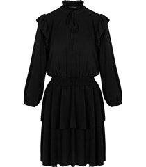 laagjes jurk ruches zwart