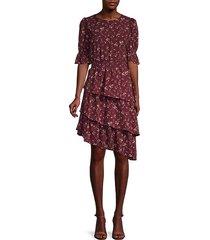 asymmetric tiered blouson dress