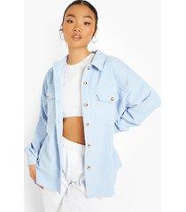 oversized blouse met corduroy zakken, pastel blue