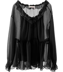 see by chloé oversized ruffled blouse
