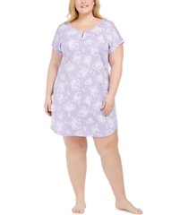 charter club plus size cotton floral-print sleep shirt, created for macy's