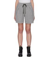 elastic waist zip pocket cotton shorts