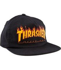 boné thrasher magazine flame logo snapback preto