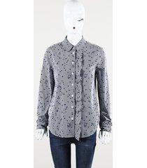 equipment blue white printed cotton ruffle blouse blue/white sz: s