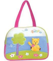 bolsa maternidade pequena em plush-detalhe bordado yes - unissex