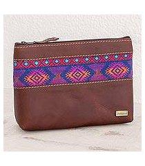 cotton accent leather cosmetic bag, 'san marcos diamonds' (guatemala)