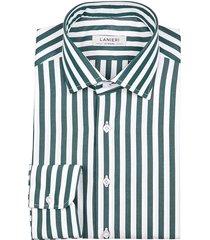 camicia da uomo su misura, grandi & rubinelli, riga larga verde, quattro stagioni