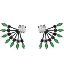 brinco ear jacket the ring boutique cristais verde esmeralda zb ródio negro - kanui