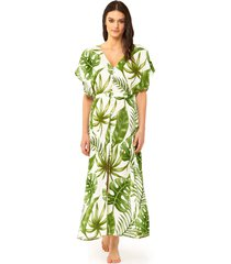 tropical leaves print long dress #losangeles