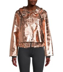 dkny sport women's rosegold hoodie cropped jacket - rose gold - size s