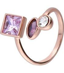 anello con pietre sui toni del viola in metallo rosato per donna