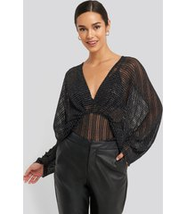 na-kd party dolman sleeve blouse - black