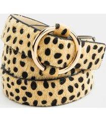 greta leopard calf hair single circle belt - leopard