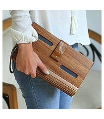 wood clutch, 'city savvy in blue' (mexico)