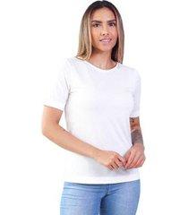 t-shirt modal gola careca magnolia off talco - feminino
