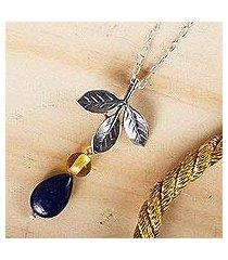 lapis lazuli and amber pendant necklace, 'indigo foliage' (mexico)