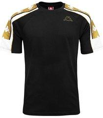 camiseta kappa 10 arset - negro/blanco/dorado