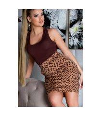 sexy hoge taille rok met print + riem bruin