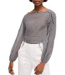 kate spade new york women's embroidered gingham cotton & silk blouse - black cream - size 6
