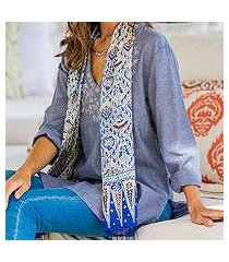 silk batik scarf, 'royal java blue' (indonesia)