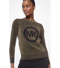 mk pullover in maglia metallizzata con logo - nero/oro (oro) - michael kors