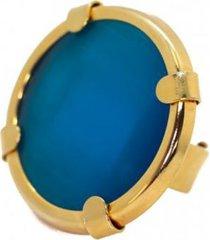 anillo campanula baño en oro azul bijulovers