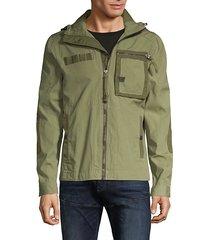 hooded cotton-blend jacket