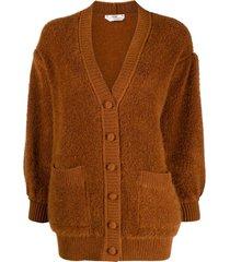 fendi fluffy-knit cardigan - brown