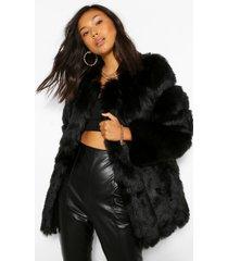 oversized luxe faux fur jas met panelen, zwart