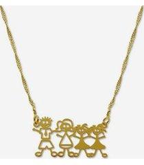 gargantilha horus import família feliz banhada ouro 18k feminina