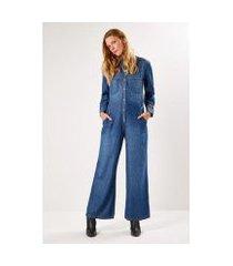 macacão jeans sacada a fio feminino
