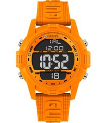 guess logo silicone digital watch 48mm