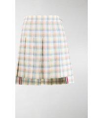 thom browne check-print pleated mini skirt