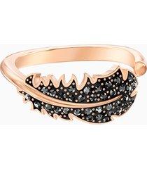 anello con motivo naughty, nero, placcato oro rosa