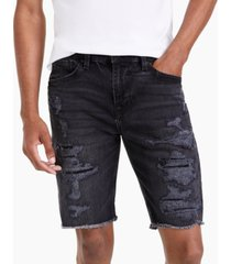 guess men's slim-fit destroyed denim shorts