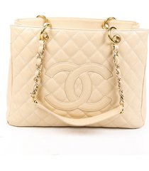 chanel grand shopping tote beige quilted caviar leather cc bag beige/logo sz: m