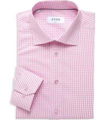 eton men's gingham slim-fit shirt - pink red - size 17