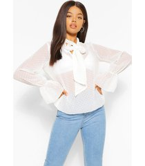 dobby mesh blouse met strik, wit