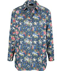 spijkerblouse m. collection blauw::pink::multicolor