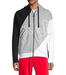 fila men's colorblock logo cotton-blend hoodie - black - size xl