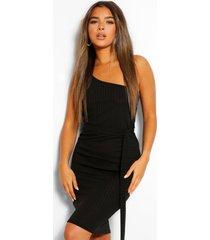 petite geribbelde midi jurk met eén open schouder en ceintuur, zwart