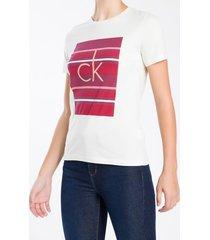 camiseta calvin klein listras - rosa - gg