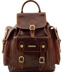 tuscany leather tl9052 pechino - zaino in pelle con ampie tasche marrone