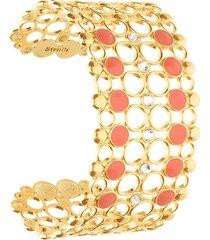 bracciale rigido fascia larga in ottone rosato cristalli e smalto arancione per donna