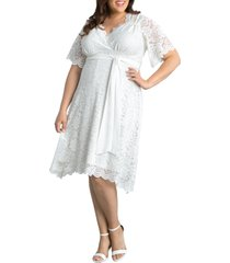 kiyonna graced with love faux wrap dress, size 3x in ivory at nordstrom